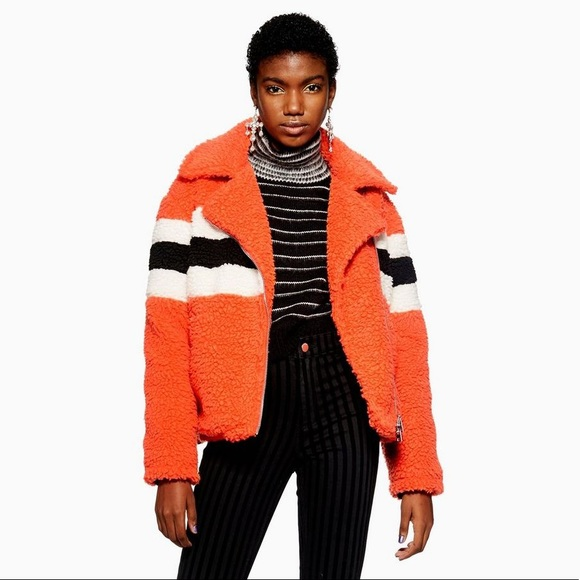 Topshop Bright Orange Striped Teddy Sherpa Jacket